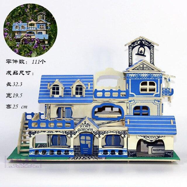3d en bois modle diy puzzle jouet enfant cadeau assembler plage maison villa charme mer ege - Jeux De Construction De Maison Gratuit 3d