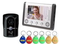 """7 """"TFT LCD de Video Teléfono de La Puerta de Acceso RFID Puerta Cámara CMOS de Una a Un Home Cámaras de Seguridad Del Monitor de Vídeo Portero Automático de La Puerta de Vídeo de la Leva"""