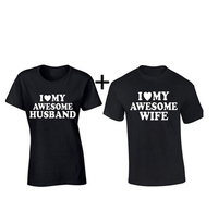 Valentines Day Gift I Love My Awesome Husband Wife Matching Couple Tee Shirts Best Lovers Mr