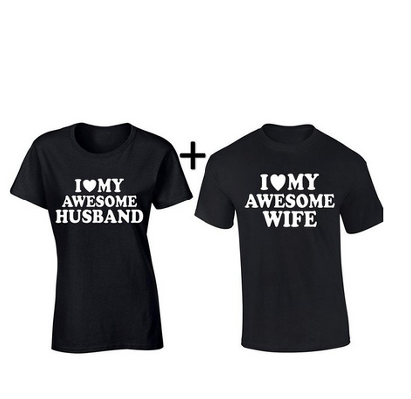 Best Gift For My Wife Part - 38: Valentines Day Gift I Love My Awesome Husband Wife Matching Couple Tee  Shirts Best Lovers Mr