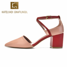 KATELVADI Woman Shoes Sandals High Heels Light Pink Corss Strap Party US4 to US9 K-344
