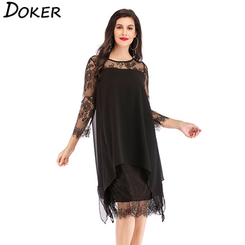 2019 New Lace Chiffon Patchwork Dress Women O-neck 3/4 Sleeve Loose A-line Dress Ladies Elegant Hollow Evening Party Dress 5XL 1