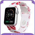 38mm 42mm Band For Apple Smart Watch with Pin-and-Tuck Closure Soft Durable Silicone Band Strap for Apple Watch Lip Pattern