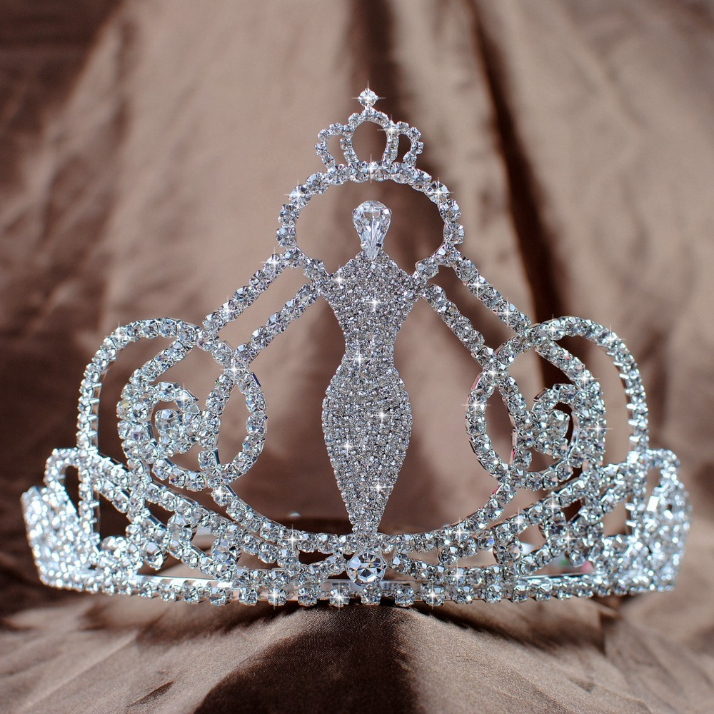 "Sexy Mermaid Style Bridal Wedding Tiaras Diadem 4.5"" Handmade Crowns Clear Crystal Rhinestones Pageant Prom Party Costumes"