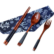 5 sets Chinese Vintage Wooden Chopsticks Spoon Fork Tableware 3pcs/Set New Gift X7.9