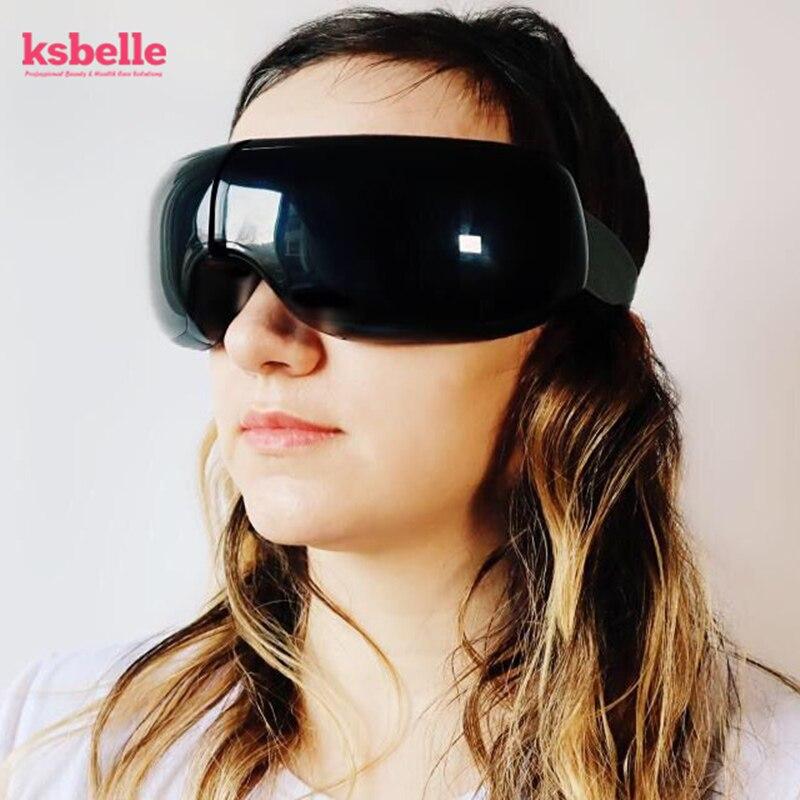 Massage intelligent des yeux Anti-rides Massage des yeux pour les yeux fatigués Compression de l'air lunettes chauffées cernes supprimer avec étui de voyage