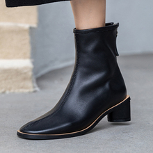 ISNOM Genuine Leather Ankle Boots Women Square Toe Booties W