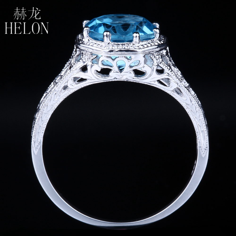 HELON 8mm Round 2.3ct Swiss Blue Topaz Engagement Wedding Fine Ring Solid 10K White Gold Solitaire Womens Art Deco Antique Ring