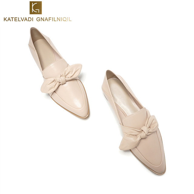 Women Casual Shoes Beige Flats PU Leather Women Shoes Slip On Bow Loafers Women Flats Fashion Comfortable Pointed Shoes K-169