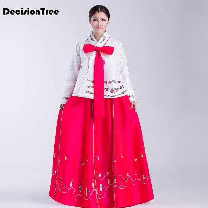 100% Kwaliteit 2019 Zomer Vrouwen Koreaanse Kostuums Geborduurde Traditionele Koreaanse Hanbok Lange Dame Aisa Kleding Voor Stage Performance