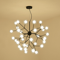 free LED bulbs Nordic creative Black bubble ball chandelier modern personality living room hanging