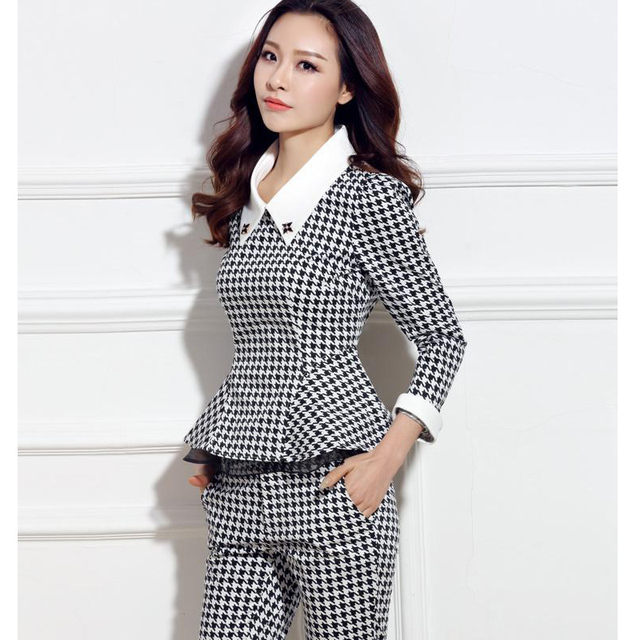 Elegant Women Casual Pant Suits 2016 Formal Office Fashion Ladies 2