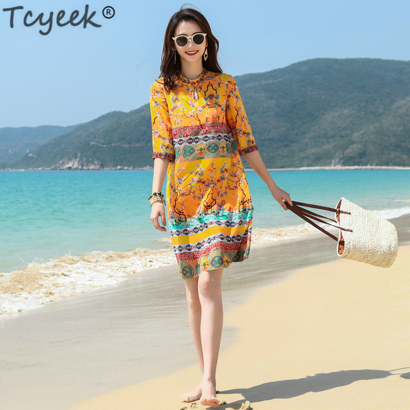 Women Summer Beach Dress Silk Mini Print Floral Dresses Elegant Yellow Dress Plus Size Loose Dresses Vestidos WW020