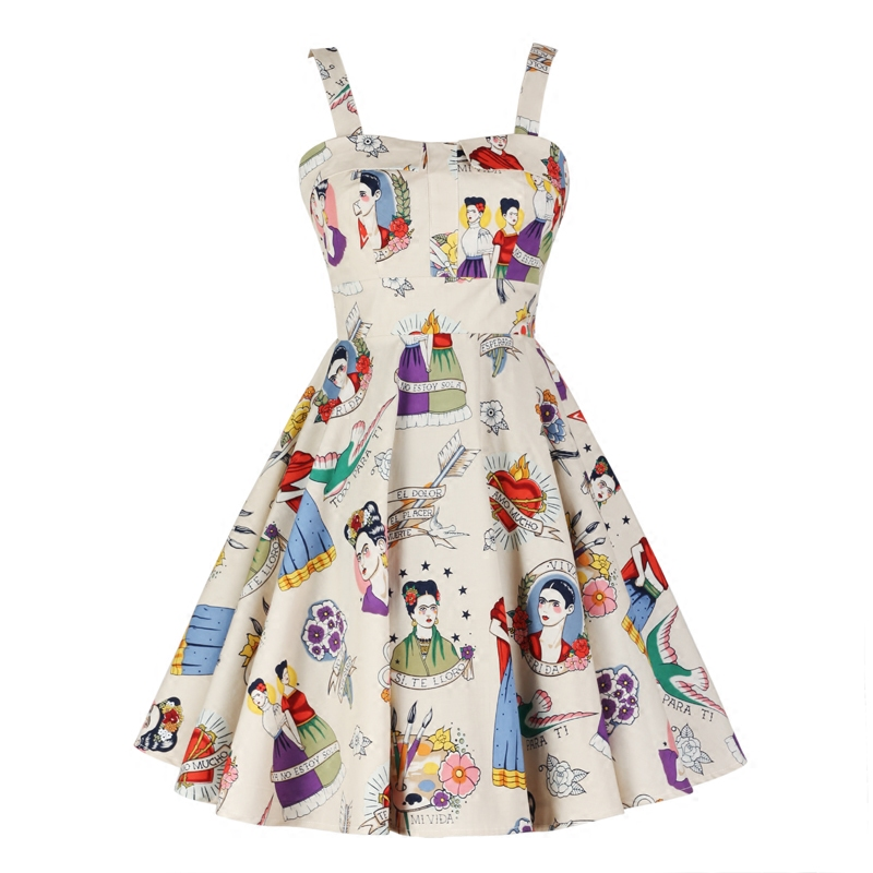 1e1c450fecc Graffiti Frida Kahlo Printed Casual Prom Lady Clothing Knee Length Braces  Sundress 1950s High Waist Back with Bowknot Design
