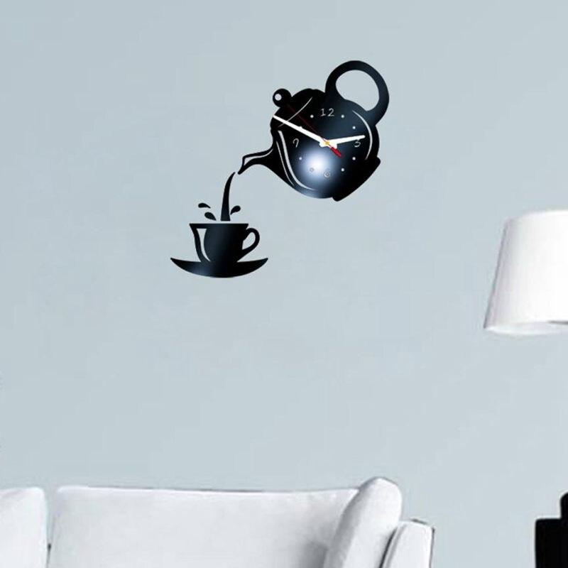 Wall Clock Mirror Effect Coffee Cup Shape Decorative Kitchen Wall Clocks Living Room Home Decor