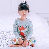 HT2800 16 Spring Summer Children Pajamas Set Boy girl Cartoon print Nightwear Kids Cotton Sleepwear Tshirt+Pants Baby Nightdress