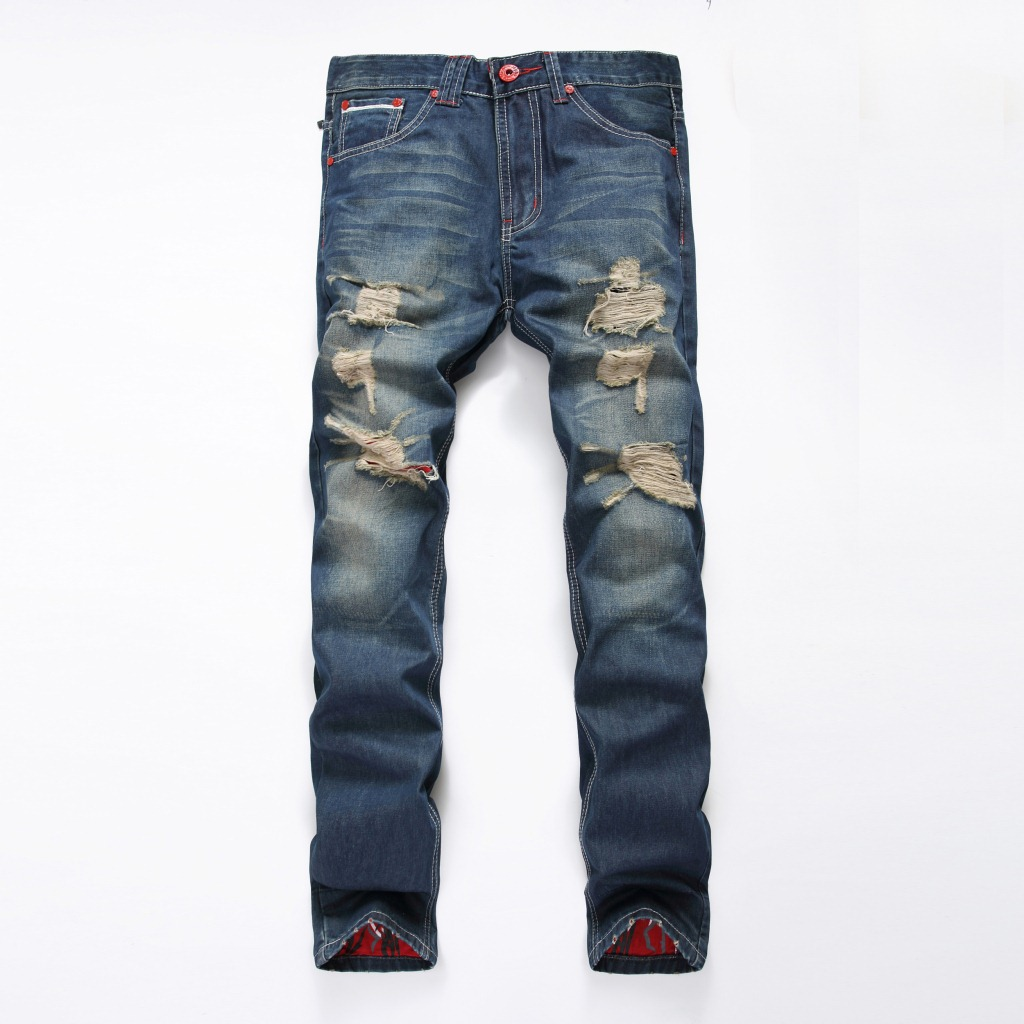 2017 Hiphop Ripped Jeans Men Straight Denim Jeans Famous Brand Clothing High Quality Biker Jeans Classic Blue Colour Size 28 38 men male blue ankle zipper biker motorcycle denim jeans slim straight ripped damged hole designer brand hiphop funky denim pants