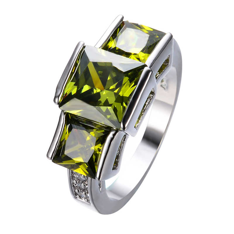 Luxury Princess Cut  Peridot Vintage Jewelry Olive Green Zircon Wedding Ring For Women White Gold Filled Engagement Rings RW1293