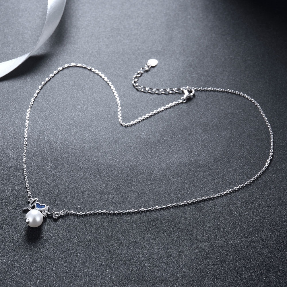 GRACE MOMENTS 100% 925 Sterling Silver LOVE Pearl Romantic Pendant Necklaces for Women Sterling Silver Jewelry Gift