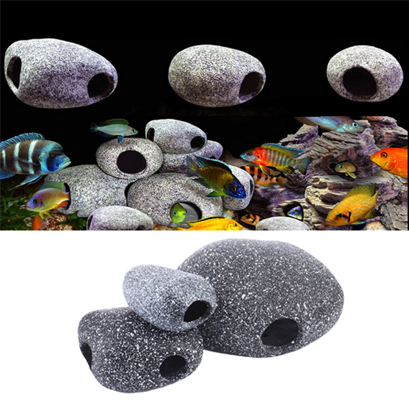 1PC Aquarium Small Rock Cave Ceramic Stone Fish Tank ...