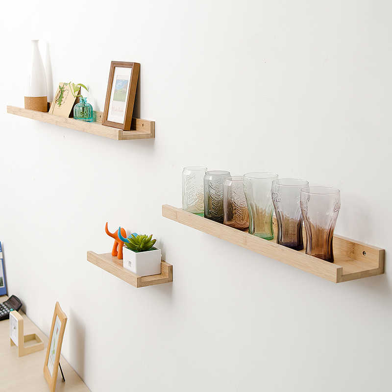 Bamboo Wall Storage Racks Solid Wooden Shelf Partition Shelf Living Room TV  Wall Hanging Decoration Frame Bedroom Wall Creative