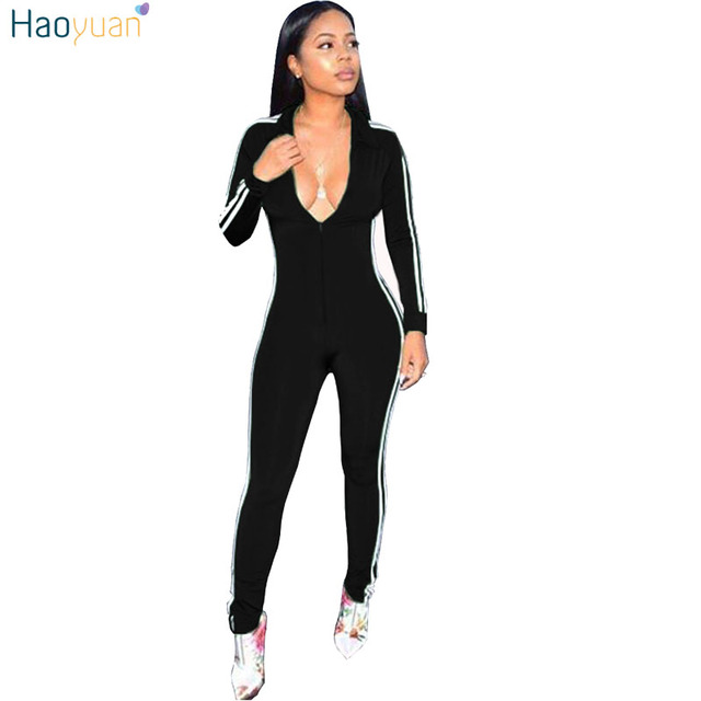 e46243a9faae HAOYUAN Long Sleeve Jumpsuits Deep V-Neck Bodycon Sexy Full Bodysuit Casual  Side Striped Zipper