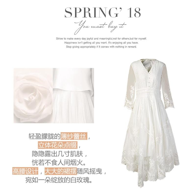 Printemps Dame Dentelle Artka La10983c Floral Brodé Vintage cou En Taille Princesse Femmes Nouveau V Haute Blanc Robe dWwTFwBOq