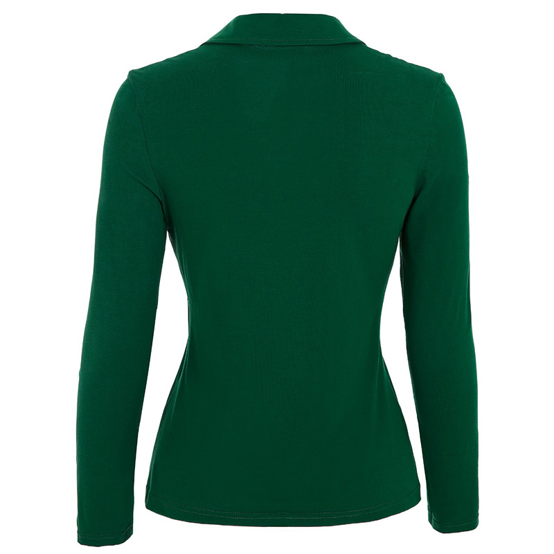 Black Green Polo Shirt Women 2016 Long Sleeve Casual Fitness Shirts Femme  Tops Sexy V Neck Cotton Camisa Polo Feminina-in Polo Shirts from Women s  Clothing ... 914f48317c