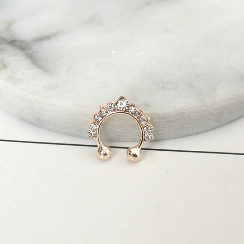 Новая мода Серебряный Золотой цвет сексуальные ювелирные изделия Кристалл Нос кольцо обруч поддельные пирсинг в стиле панк кольцо для мужчин и женщин ювелирные изделия