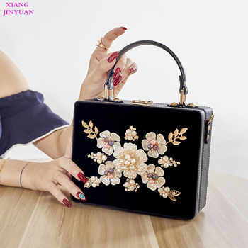 2018 New Women Graceful Floral Totes High-end Dinner Party Messenger Bag Vintage Ethnic Evening Bags Corduroy Black Shoulder Bag - DISCOUNT ITEM  0% OFF All Category