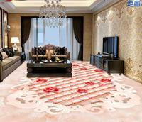 European Luxury Creative 3d Floor Custom Self Adhesive Wallpaper Jade Soft Bag Rose 3d Flooring Wallpaper