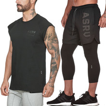 2019 камуфляж спортивный костюм дышащая сетка с коротким рукавом и поддельные 2 в 1 мужские брюки