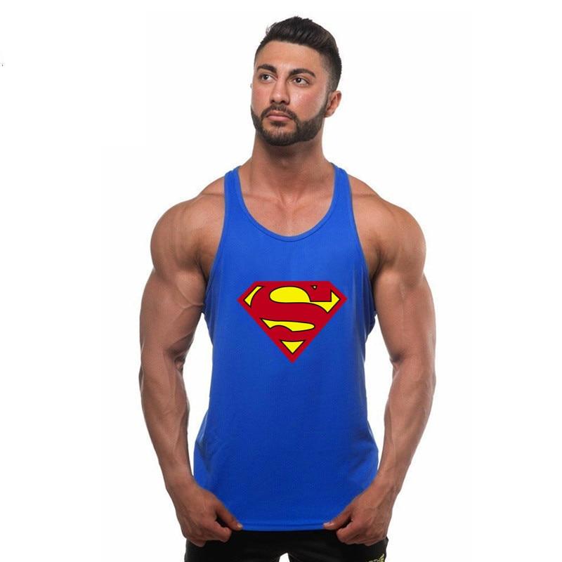 Brand Super Hero Captain America Brand Clothing Singlets Mens Tank Top Muscle Shirt Superman Stringer Bodybuilding Fitness Mens