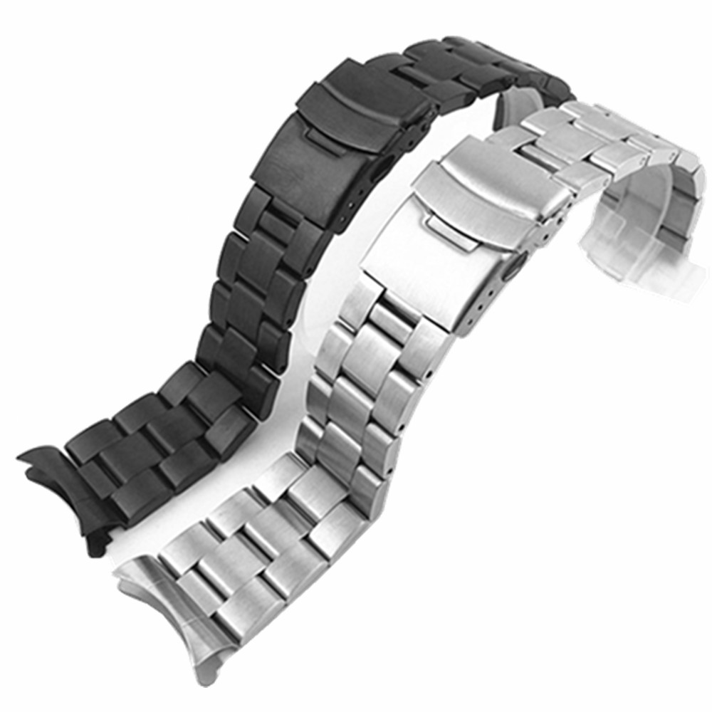 Watchband Arc Edge Stainless Steel Strap Arc Mouth bracelet metal band 20 22mm watch band For Casio For Seiko ect image