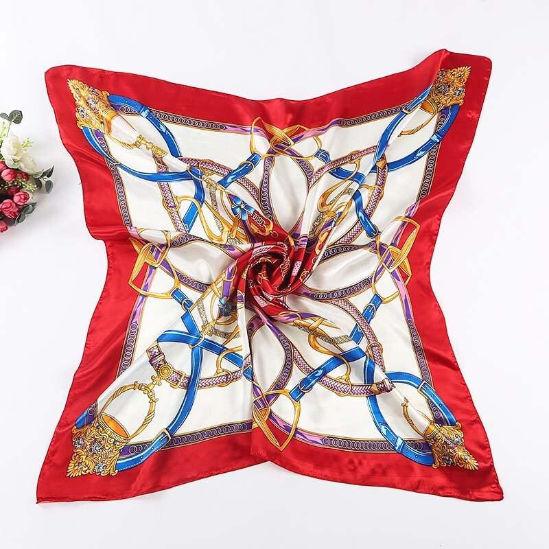 Women Silk Scarf Large Square Scarf Crown Belt Pattern Printed Satin Shawl Fashion Bandana Stole Hijab Female Accessories