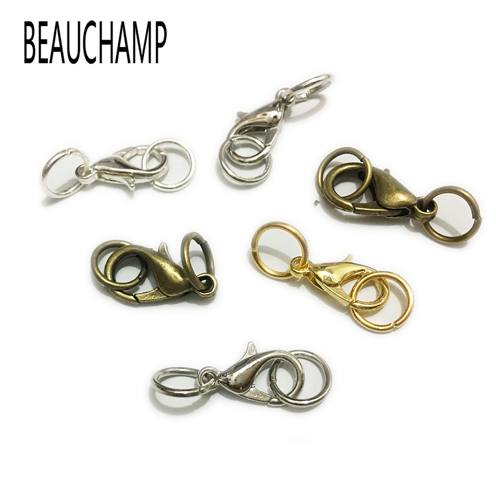 BEAUCHAMP Necklace End Beads Connector Lobster Swivel Clasps Hooks Jump Rings Crimp Snap Jewelry Cord Textured Bracelet Finding