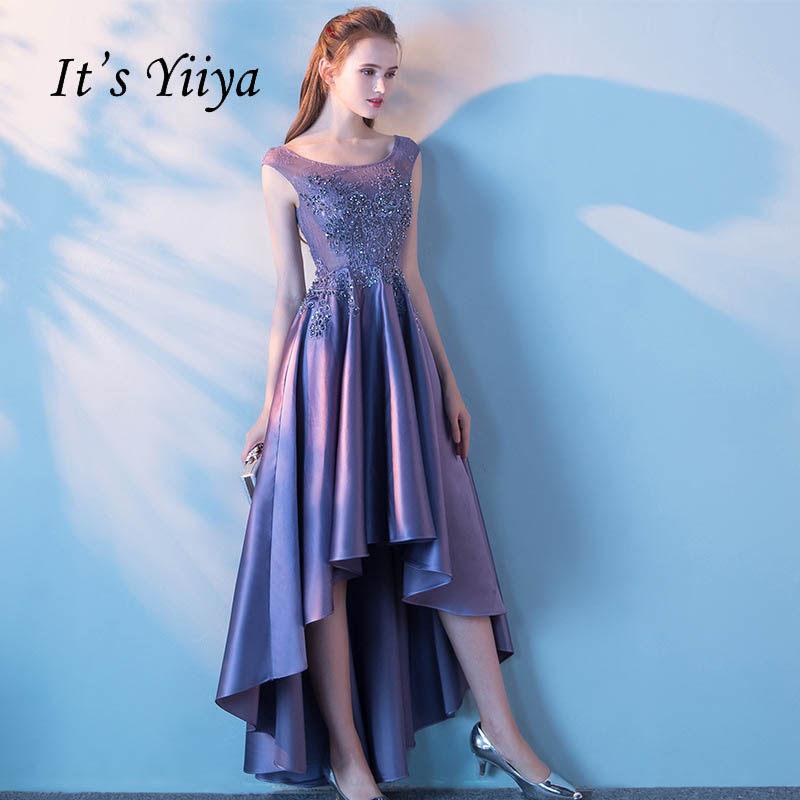 b1a3ad25a64 It s YiiYa New Purple Illusion Zipper High-low Asymmetry Vintage Elegant  Flower Taffeta Prom Gown