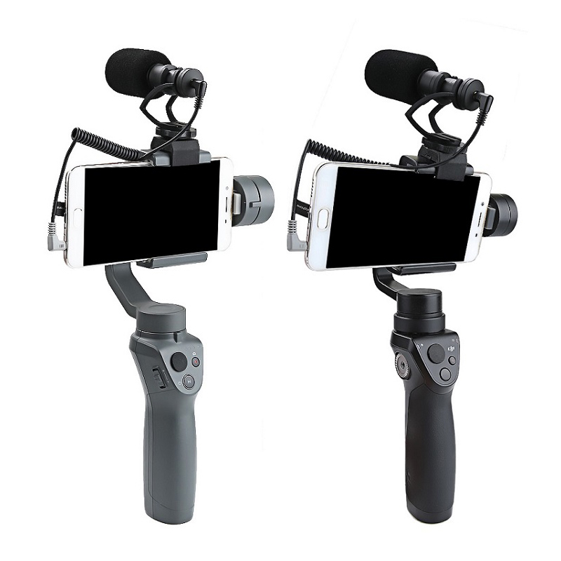 OSMO Mobile 2 1 Cardioid Directional Condenser Video Microphones Mic + Universal Mount for DJI OSMO Mobile Plus DSLR Camera