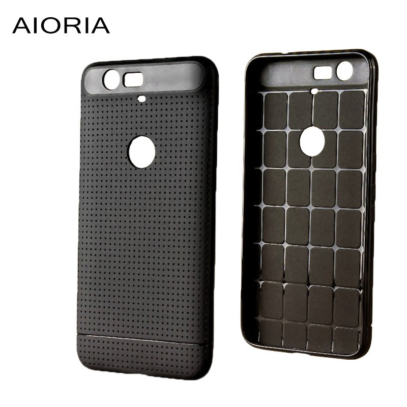 AIORIA Soft case for Huawei Nexus 6P Dot Pattern design Rubber silicone TPU material Solid Black color