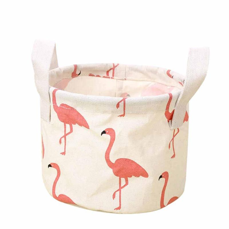 NEW Creative Cotton Fabric Desktop Storage Box Office Desk Stationery Cartoon Laundry Basket Storage Bag Organizer