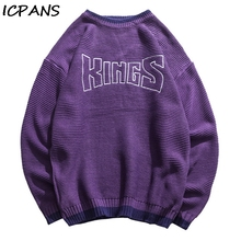 ICPANS Japanese Fashion Sweater Mens O Neck Loose Pullovers Male Letter Autumn Winter 2019 Hip Hops