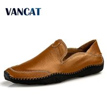 Vancat Men's Driving Shoes 2018 Men Genuine Leather Loafers Shoes Fashion Handmade Soft Breathable Moccasins Flats Men's shoes