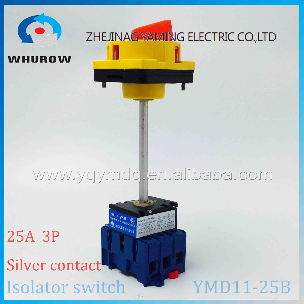 Isolating switch YMD11-25B with padlock handle aluminum pole 25A Load break power cut off operation outside electrical cabinet proximity switch vario load switch isolating switch operation panel kcf2pzc