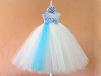 fashion baby girls evening party dress blue white flower petal tutu dresses for girls with matched headband