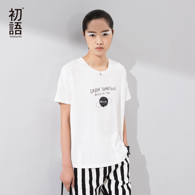 Toyouth New Arrival T Shirts Women's Cotton O-Neck Short Sleeve Tops Letter Print All Match Basic Tees T-Shirts