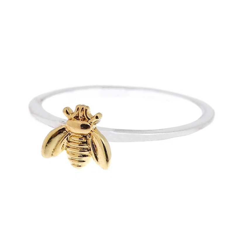 1 Pcs Sederhana Kecil Padat Warna Emas Tembaga Lebah Jari Cincin Emas Dipalu Band Susun Cincin Pernikahan Perhiasan