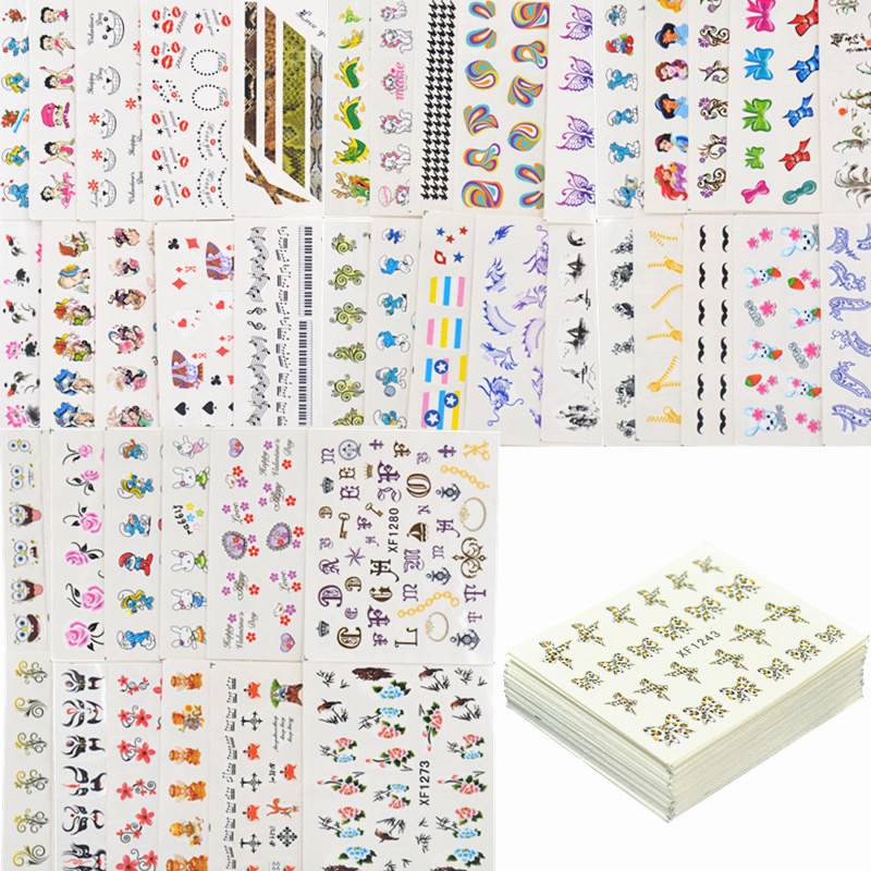 50 Sheets Mixed Styles Watermark BOW Cartoon Stickers Nail Art Water Transfer Tips Decals Beauty Temporary Tattoos Tools 8 sheets package temporary jewelry tattoos metallic tattoo fashion accessory body art tattoos