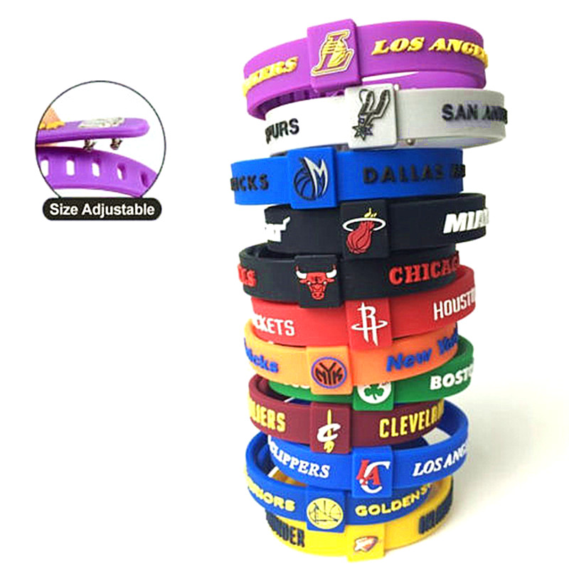 1pc Basketball Star Team Adjustable Bracelet Wrist band Bulls Knight Rocket Spurs Lakers Celtics Heat Sport Wristband Bangle