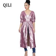 QILI Long Shirt Sequins Dress For Women New Autumn Sleeve V-neck High Waist Open Dresses Party Casual Womens