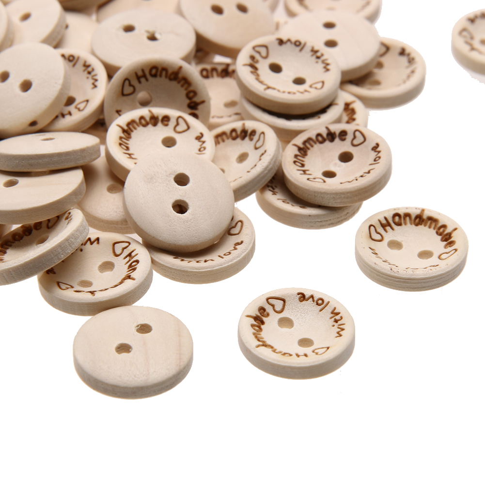 Round Wooden Cream Butterfly 2 Hole Button 20mm